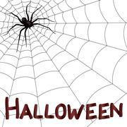Big horrifying spider on the web - stock illustration