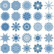 Set of twenty five blue snowflakes Stock Illustration