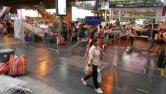 Street marketing setup at Siam square area, lively pavement at evening time Stock Footage