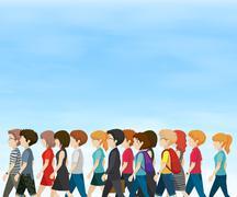 Group of people walking at daytime Stock Illustration