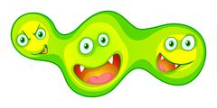 Bacteria with monster faces - stock illustration