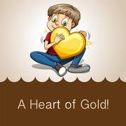 Idiom heart of gold - stock illustration