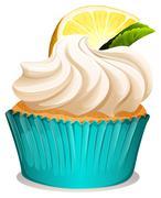 Cupcake with cream and lemon - stock illustration