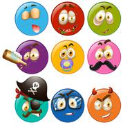 Facial expressions on round balls Stock Illustration