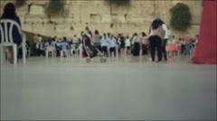 Western Wall, women's section, blurred people, Jerusalem, Israel - stock footage