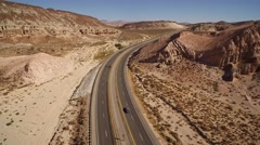 Desert Highway in Red Rock Canyon Aerial 4K Stock Footage