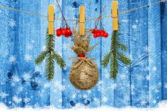 Christmas decoration with rowan berries on wooden background Stock Photos