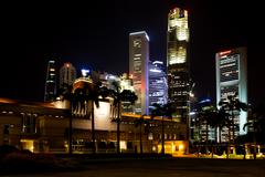Singapore Parliament House at NIght Stock Photos