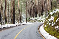 Windy Australian Road in Snow Stock Photos