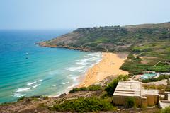 Ramla bay beach in Gozo island, Malta Stock Photos