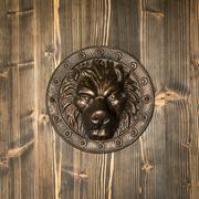 lion head, decorative detail on the front door - stock photo