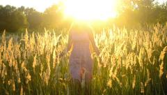 Young girl walking in the field with a dry fluffy grass Stock Footage