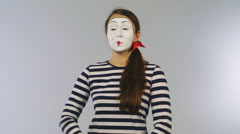 Stock Video Footage of Mime with a camera takes pictures