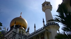 Sultan Mosque At Muscat Street, Singapore. Exterior view, Pan Down Stock Footage