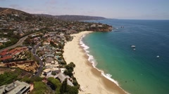 Stock Video Footage of Aerial view of Laguna Beach coastline in 4K