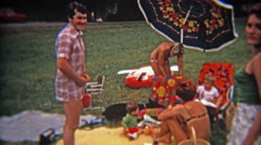 1975: Mod colorful family picnic from French Canadians outside of Montreal. Stock Footage
