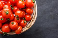 Stock Photo of pile of cherry tomatoes in a rattan basket