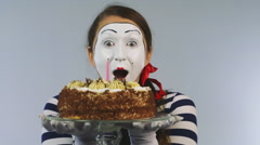 Cheerful girl with a birthday cake. Concept: celebration, birthday - stock footage