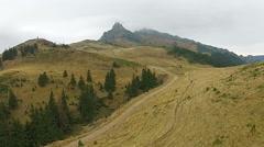 Autumn mountain ridge  in mist Stock Footage