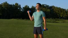 Guy engaged in sports outdoor. Stock Footage