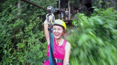 Extreme Woman Flying on Zip Line Adventure Stock Footage