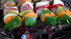 Grilled meat and vegetables Stock Footage