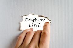 Truth or lies text concept Stock Photos