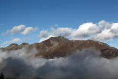 Alpine mountain in the Swiss National Park, Switzerland. Stock Photos