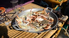 Boiled Portunus pelagicus, also known as the flower crab, blue crab Stock Footage