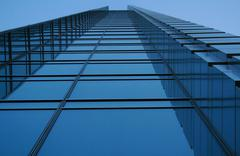 Elevation of office building seen from ground level - stock photo