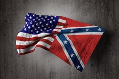usa and confederate flag - stock illustration