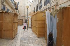 Orthodox Jewish Sukkahs during Sukkot holiday in Jerusalem, Israel - stock photo