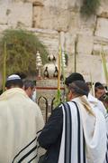 Jewish Sunrise Prayers at the Western Wall, Israel - stock photo
