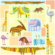 African Animals Tetris Collage Low Color - stock illustration