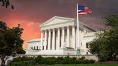 Supreme Court Building Waving Flag in Washington DC Red Clouds in Time Lapse Stock Footage