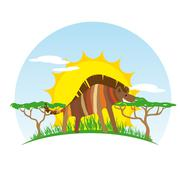 Stock Illustration of Sunny Hyena on Background of the African Sun