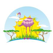 Sunny Flamingo on Background of the African Sun Stock Illustration