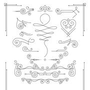 Set of elegant curls and swirls. Elements for design Stock Illustration