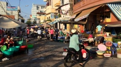 Market in Vungtau city Stock Footage
