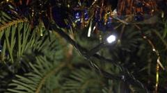 Christmas Tree Detail, Holyday, Christmas Lights, Tinsel, Joy, Pan Stock Footage