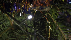 Christmas Tree Detail, Holyday, Christmas Lights, Tinsel, Joy Stock Footage