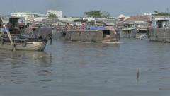 Cairan Floating Market on Mekong Delta in Vietnam. Cinema flat picture profile, Stock Footage