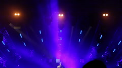 Light scene in large stadium at rave party Stock Footage