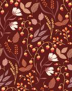 Autumn floral seamless pattern Fall autumn leaves. Nature symbol vector Piirros