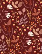 Autumn floral seamless pattern Fall autumn leaves. Nature symbol vector - stock illustration
