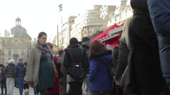 Late Autumn Fair, People Walking Between Stands, Crowd, Traditional Fair, Tilt Stock Footage