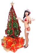 Mrs. Claus with gift boxes and Christmas tree Stock Photos
