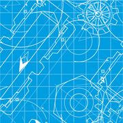 Blueprint Pattern with Gears - stock illustration