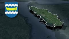 Uusimaa with Coat of arms animation map Stock Footage