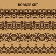 Set of Brown Border Intricate Lace Patterns Stock Illustration